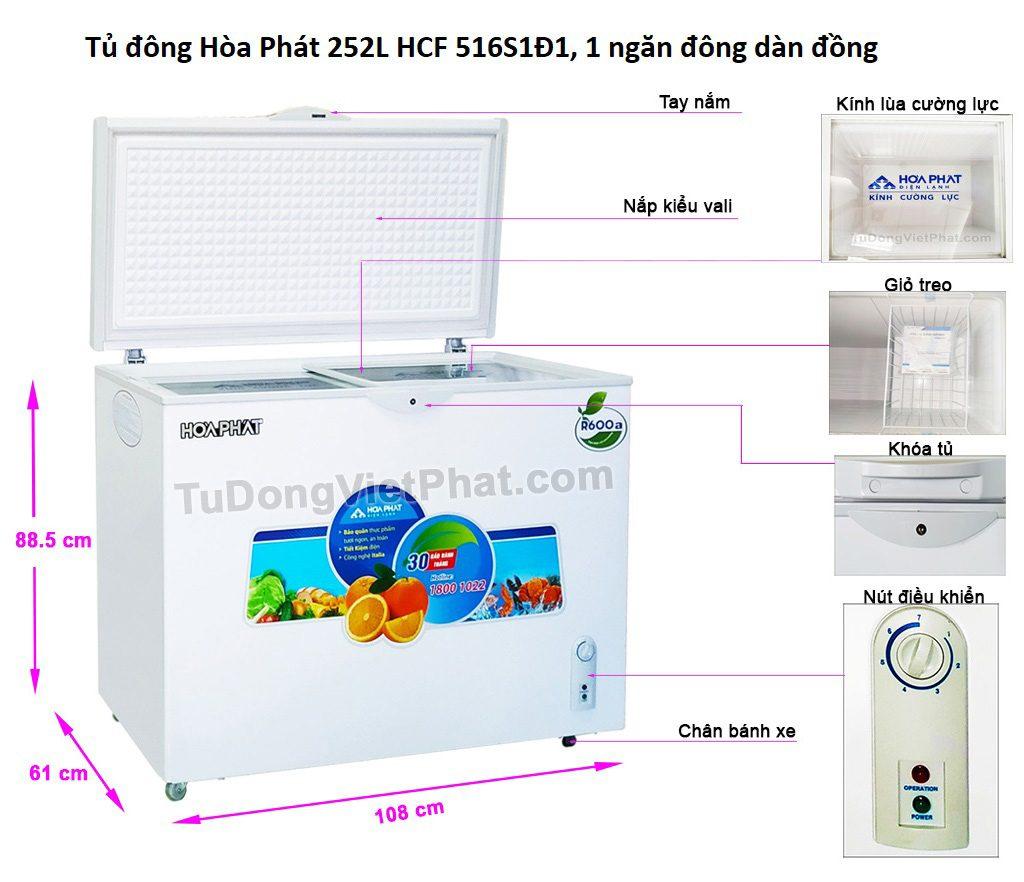 Các bộ phận tủ đông Hòa Phát 252L HCF 516S1Đ1, 1 ngăn đông dàn đồng