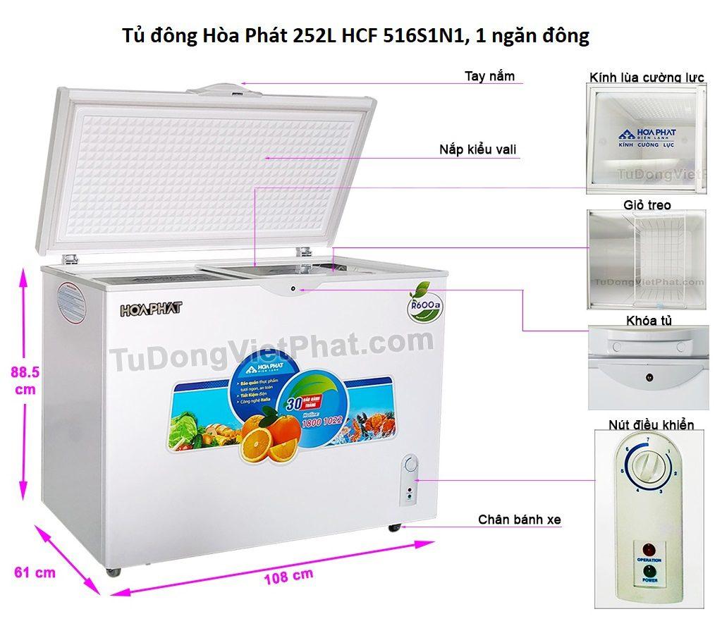 Các bộ phận tủ đông Hòa Phát 252L HCF 516S1N1, 1 ngăn đông
