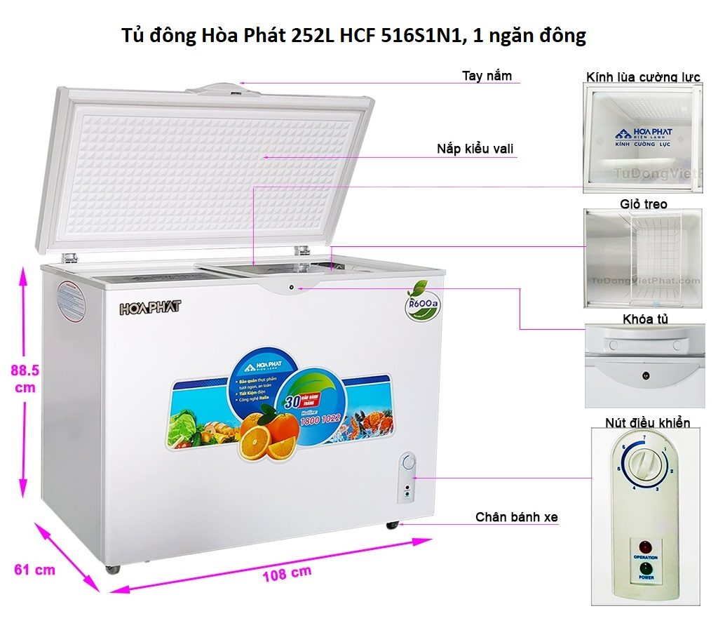 Các bộ phận tủ đông Hòa Phát 252L HCF 516S1N1