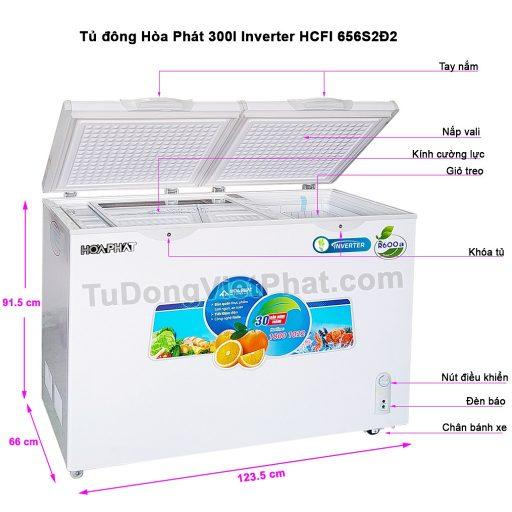 Các bộ phận tủ đông Hòa Phát 300l Inverter HCFI 656S2Đ2, 2 ngăn đông mát
