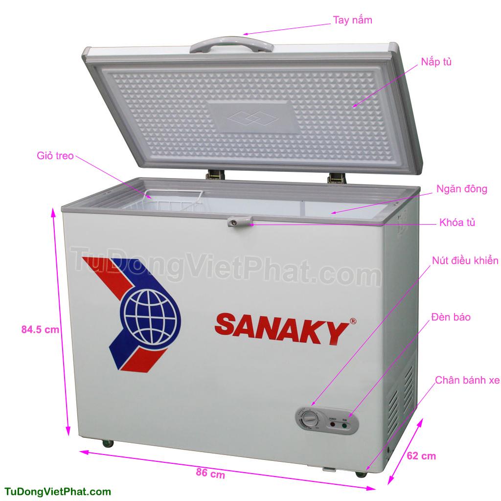 Các bộ phận của tủ đông mini 175L Sanaky VH-225HY2, 1 ngăn đông 1 cánh