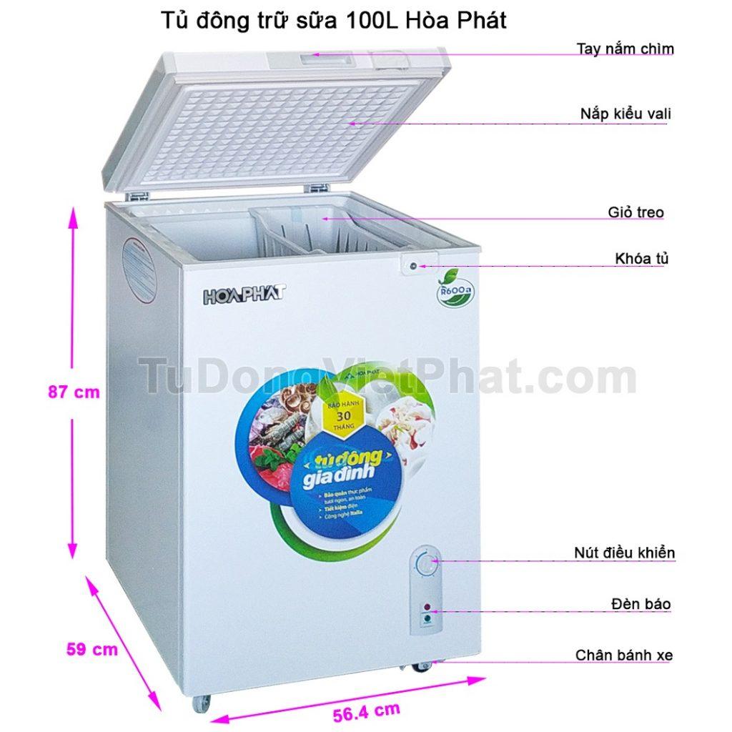 Các bộ phận tủ đông trữ sữa 100L Hòa Phát