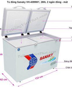 Kích thước tủ đông Sanaky VH-4099W1