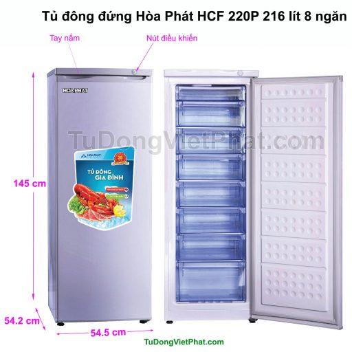 Kích thước tủ đông đứng Hòa Phát HCF 220P 216 lít 8 ngăn