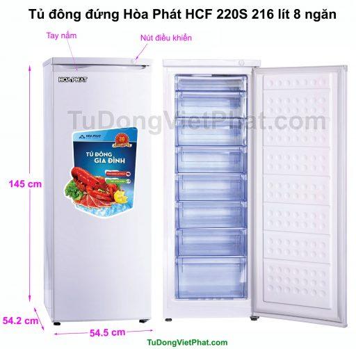 Kích thước tủ đông đứng Hòa Phát HCF 220S 216 lít 8 ngăn