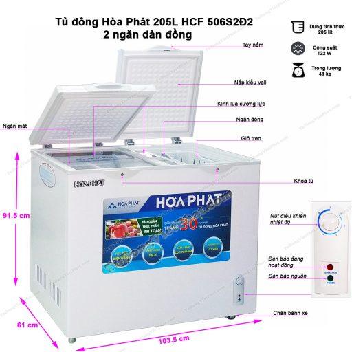 Kích thước tủ đông Hòa Phát 205L HCF 506S2Đ2, ngăn dàn đồng