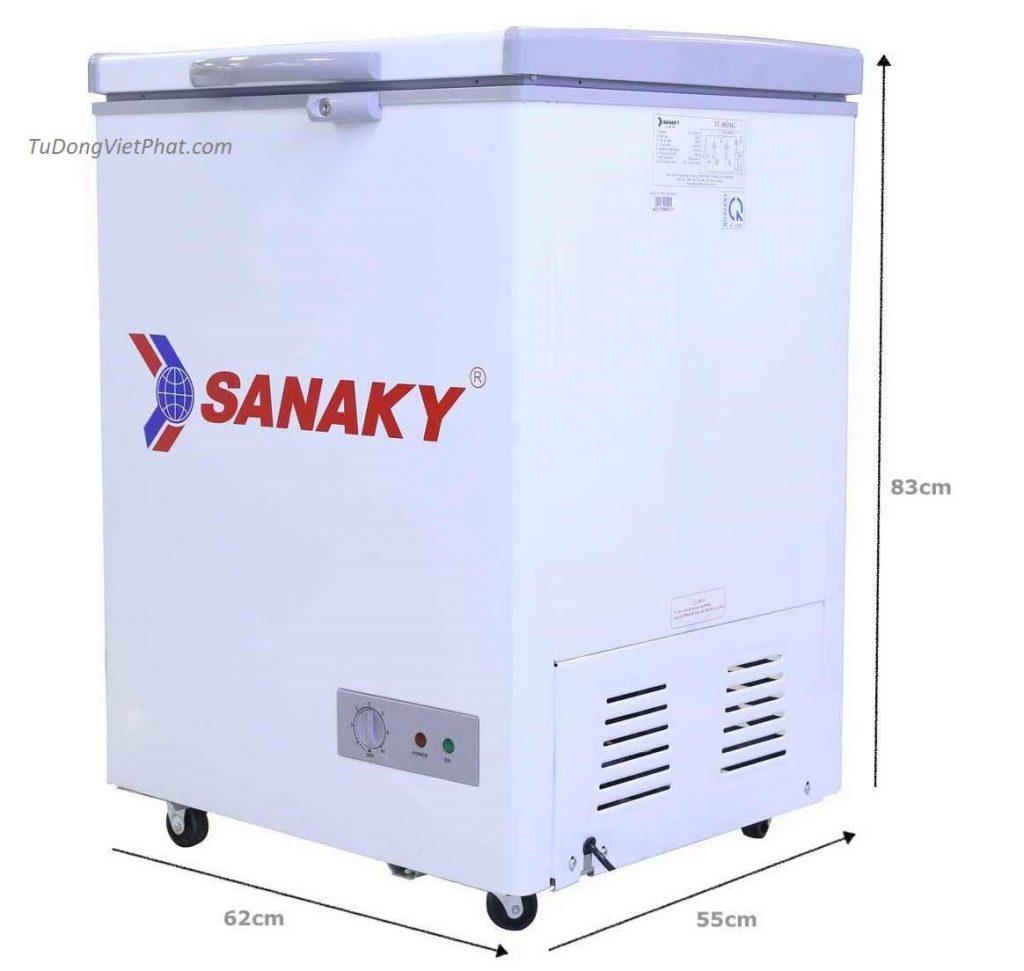 Kích thước Tủ đông mini 100L Sanaky VH-150HY2 1 ngăn đông
