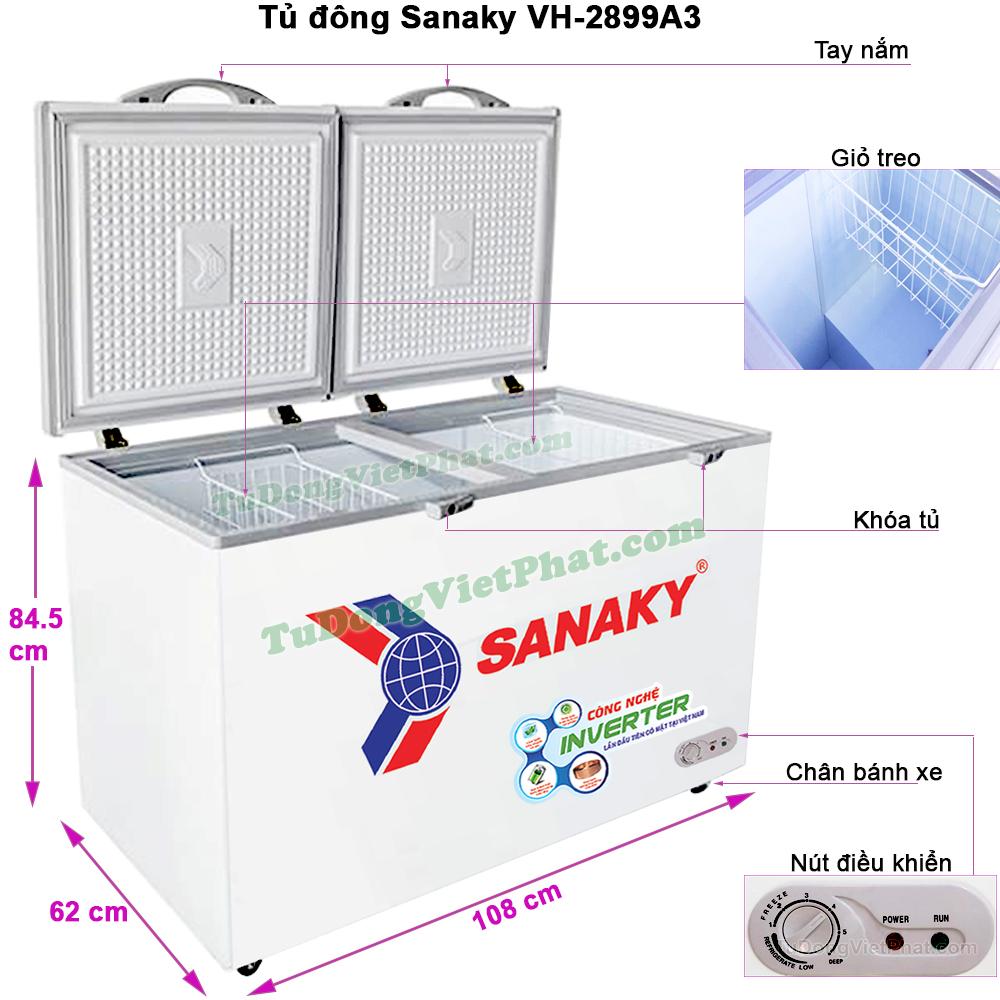 Kích thước tủ đông Sanaky INVERTER VH-2899A3, 235L 1 ngăn đông