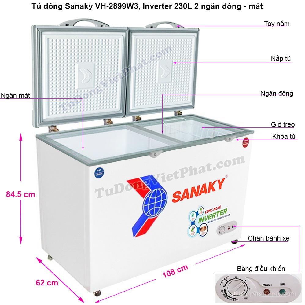 Kích thước tủ đông Sanaky INVERTER VH-2899W3
