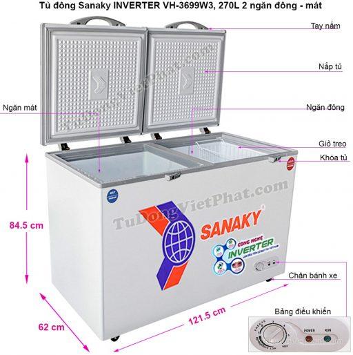 Kích thước tủ đông Sanaky VH-3699W3, 270L INVERTER