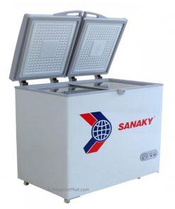 Mặt bên tủ đông mini 175L Sanaky VH-225A2, 1 ngăn đông 2 cánh