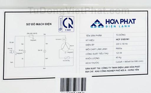 Sơ đồ mạch điện của tủ đông Hòa Phát 252L HCF 516S1N1