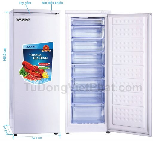 Tủ đông đứng Hòa Phát HCF 220S 216 lít 8 ngăn (1)