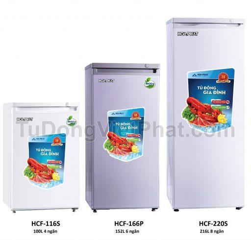 Tủ đông đứng Hòa Phát HCF 220S 216 lít 8 ngăn và các model khác