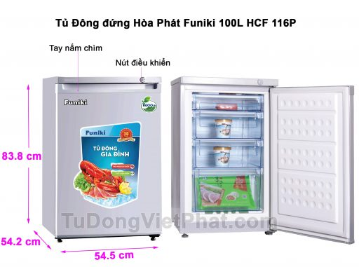 Tủ đông đứng Hòa Phát HCF 116P 100 lít 4 ngăn
