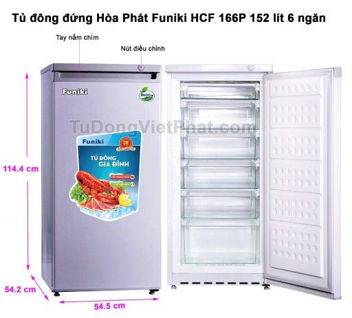 Tủ đông đứng Hòa Phát HCF 166P 152 lít 6 ngăn