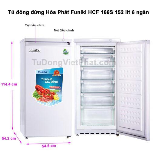 Tủ đông đứng Hòa Phát HCF 166S 152 lít 6 ngăn