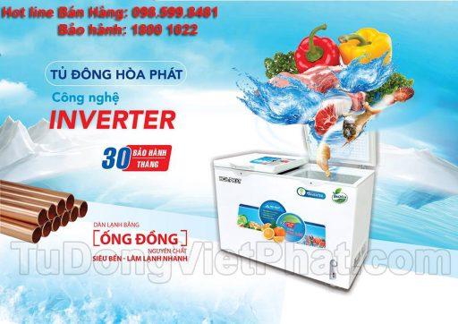 Tủ đông Hòa Phát 245L inverter, HCFI 606S2Đ2, 2 ngăn đông mát