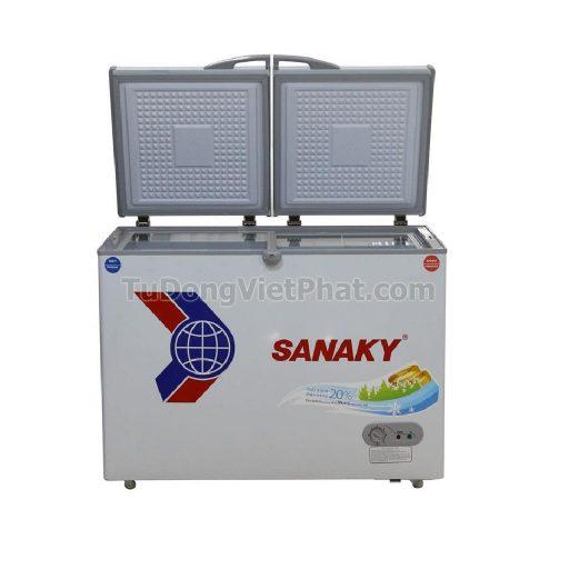 Mặt trước tủ đông Sanaky VH-2899W1, 220L 2 ngăn đông mát dàn đồng