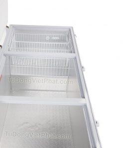 Bên trong tủ đông Alaska HB-1100C 1 ngăn đông 3 nắp dỡ 1100L dàn đồng