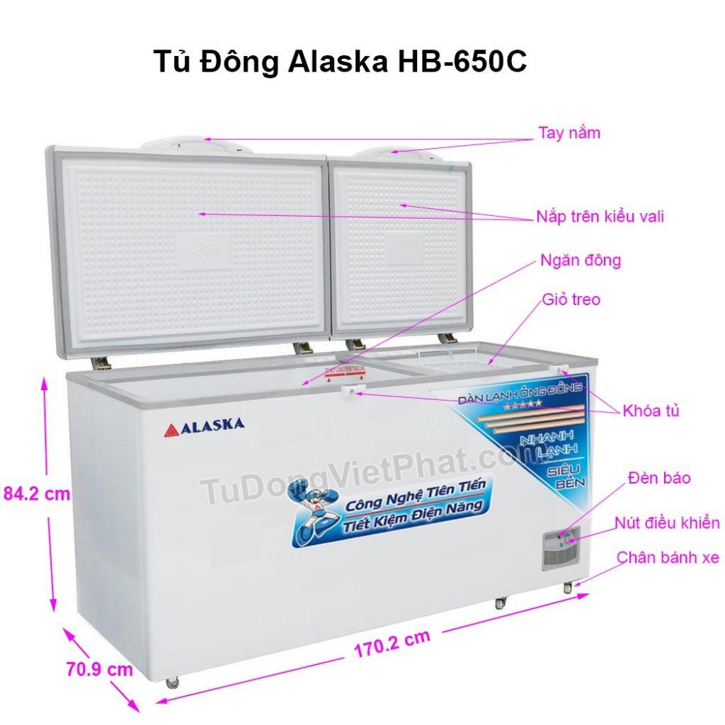 Các bộ phận tủ đông Alaska HB-650C 650L 1 ngăn đông dàn đồng