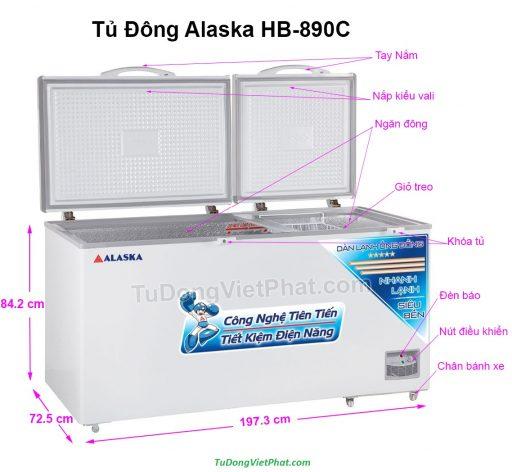 Các bộ phận tủ đông Alaska HB-890C 890L 1 ngăn đông dàn đồng