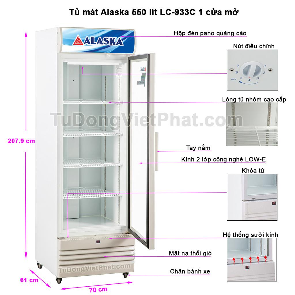 Các bộ phận tủ mát Alaska 550 lít LC-933C 1 cửa mở