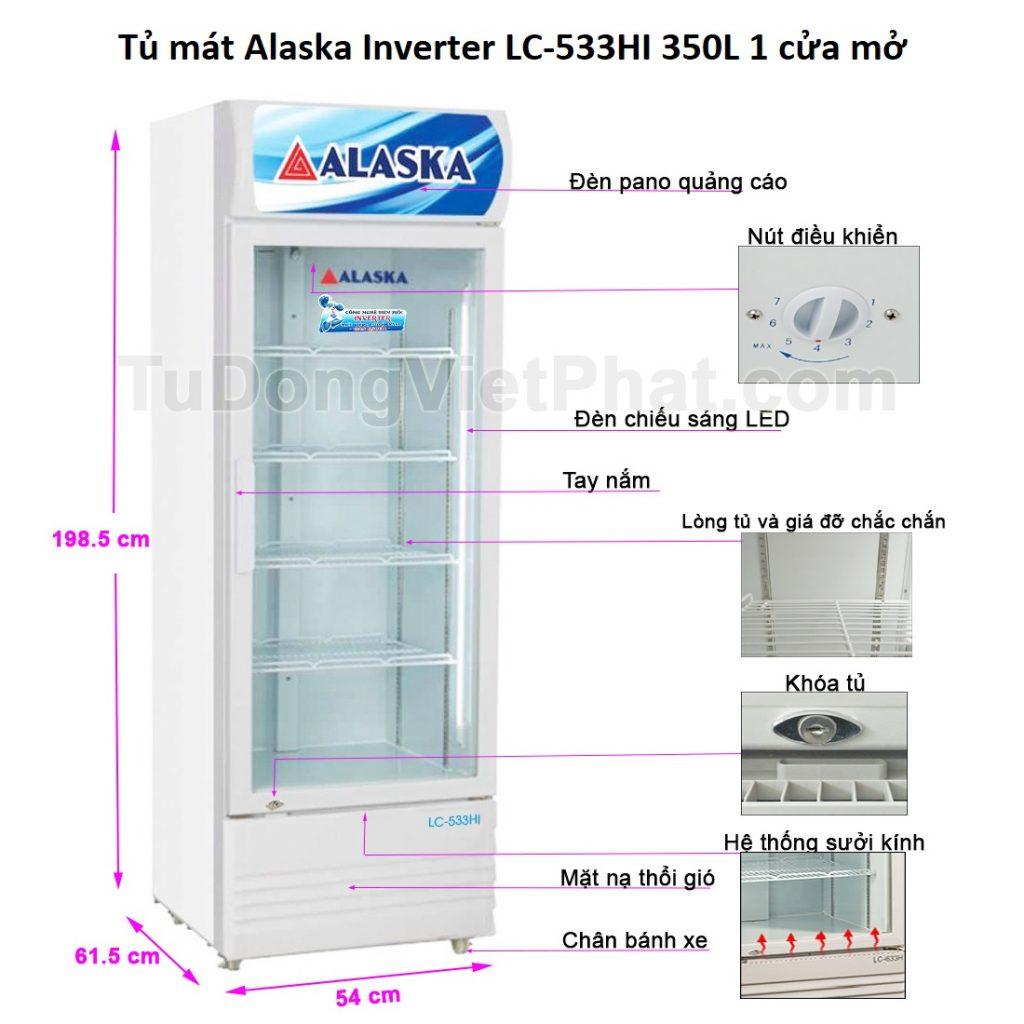 Các bộ phận tủ mát Alaska Inverter LC-533HI 350L 1 cửa mở