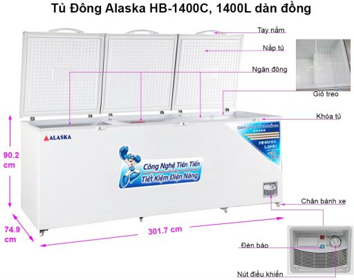 Kích thước tủ đông Alaska HB-1400C 1 ngăn đông 1400 lít