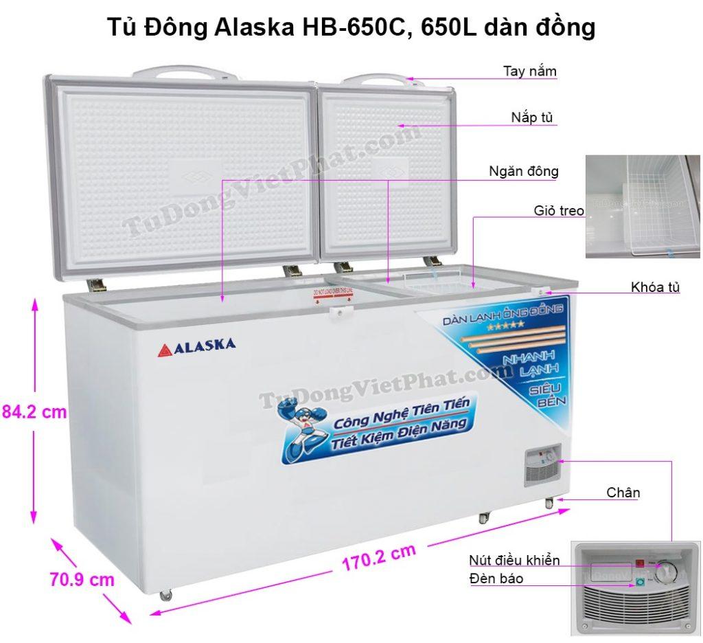 Kích thước tủ đông Alaska HB-650C 650L