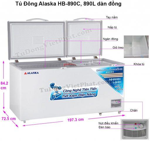 Kích thước tủ đông Alaska HB-890C
