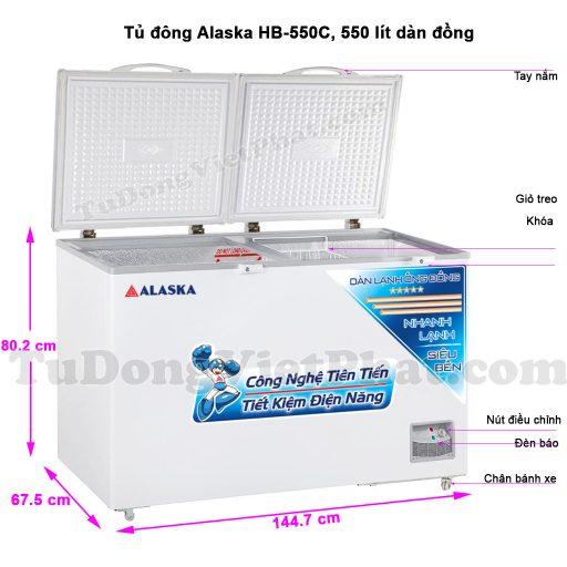 Kích thước tủ đông Alaska HB-550C