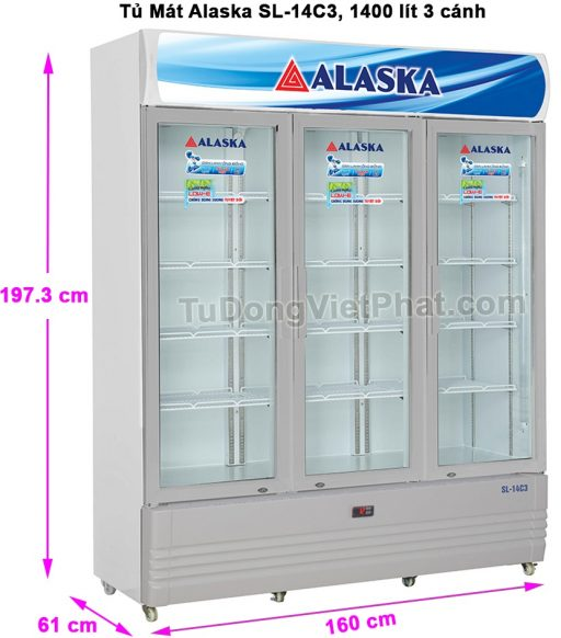Kích thước tủ mát Alaska SL-14C3 1400 lít