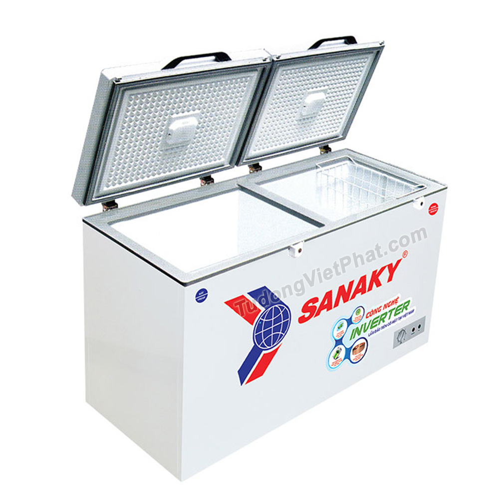 Bên trong tủ đông Sanaky INVERTER VH-4099W4K mặt kính cường lực