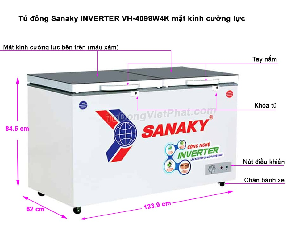 Kích thước tủ đông Sanaky INVERTER VH-4099W4K mặt kính cường lực