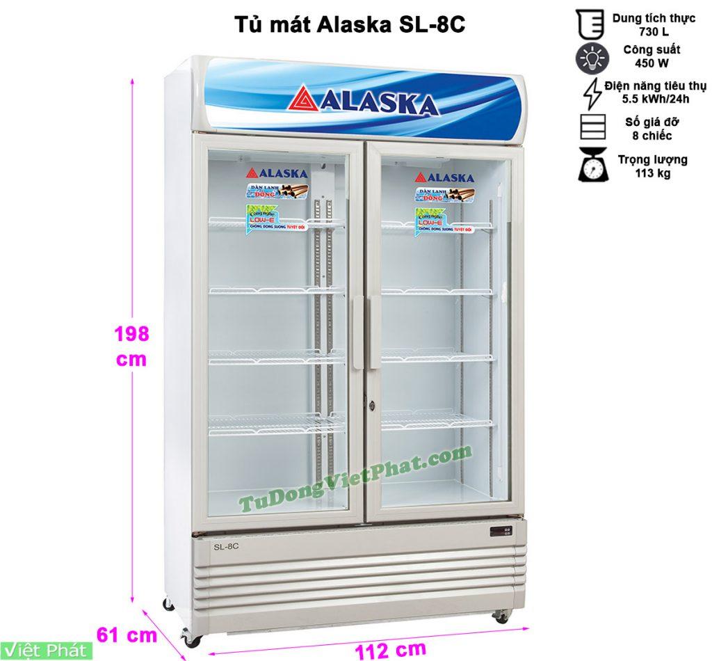 Kích thước tủ mát Alaska SL-8C 800 lít 2 cánh
