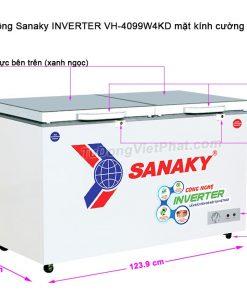 Kích thước tủ đông Sanaky INVERTER VH-4099W4KD mặt kính cường lực