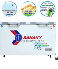 Tủ đông Sanaky INVERTER VH-4099W4K mặt kính cường lực (xám)