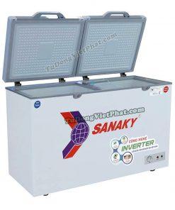 Tủ đông Sanaky INVERTER VH-4099W4KD mặt kính cường lực (xanh)