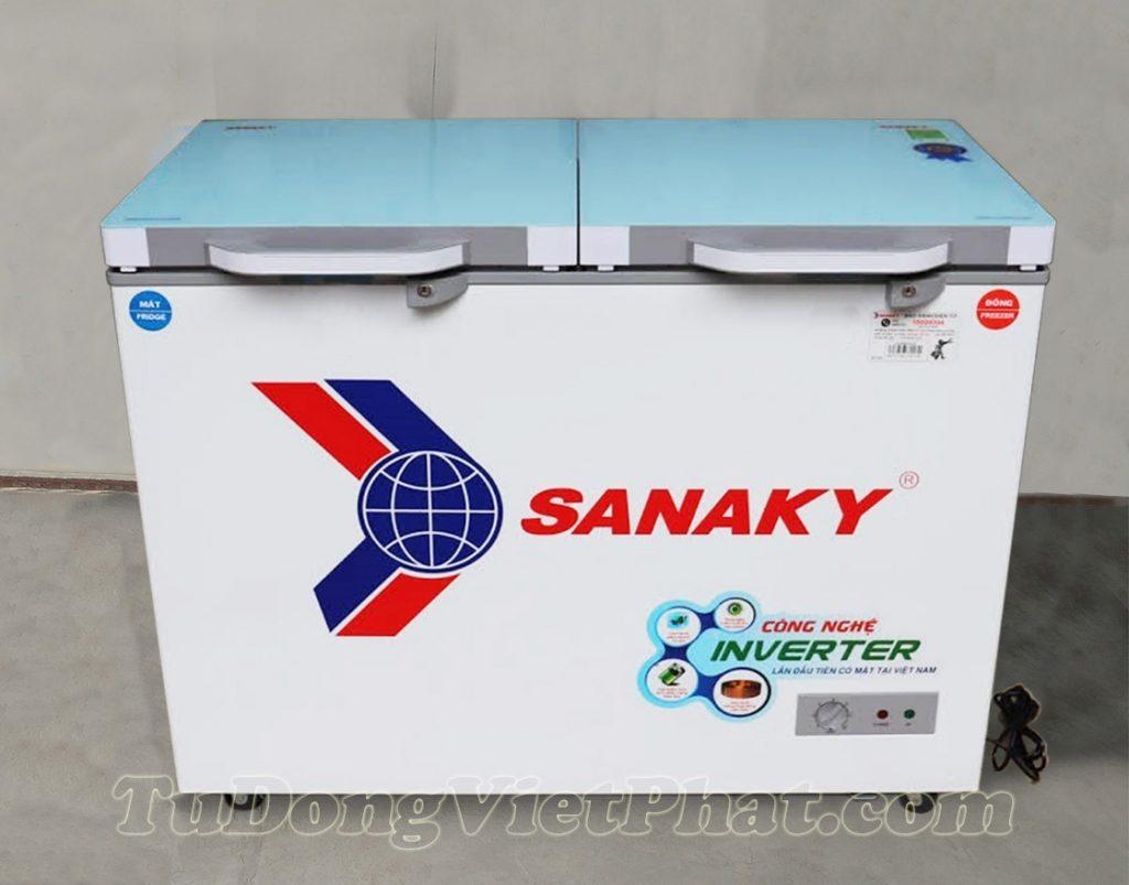 Tủ đông Sanaky INVERTER VH-4099W4KD mặt kính cường lực xanh