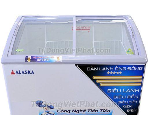 Bên trong tủ đông Alaska SD-401YC cánh kính cong 400 lít dàn đồng