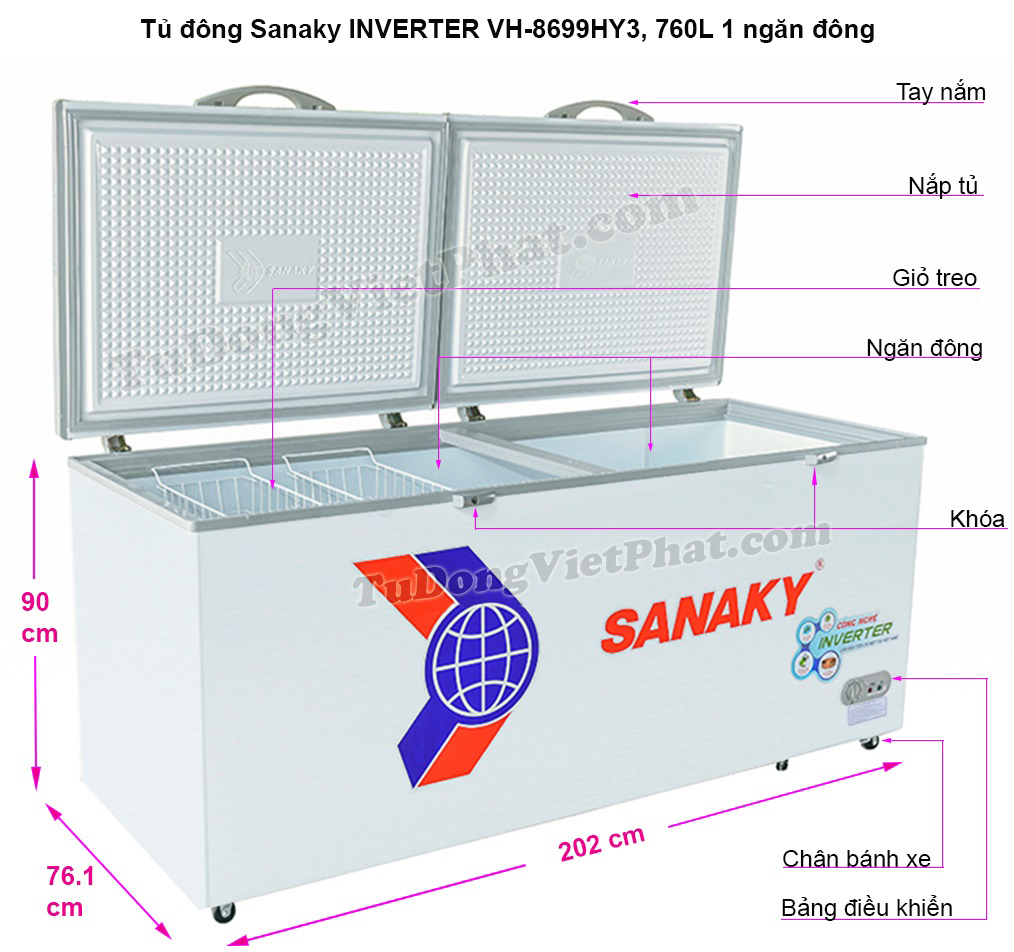 Kích thước tủ đông Sanaky VH-8699HY3