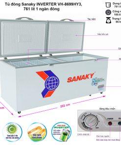 Kích thước tủ đông SanakyInverter 761 lít VH-8699HY3