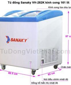 Kích thước tủ đông Sanaky VH-282K