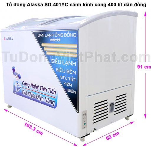 Kích thước tủ đông Alaska SD-401YC cánh kính cong 400 lít dàn đồng