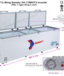 Kích thước tủ đông SanakyInverter 900 lít VH-1199HY3, 3 cánh