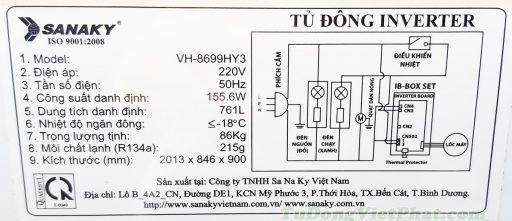 Tem kỹ thuật tủ đông SanakyInverter 761 lít VH-8699HY3