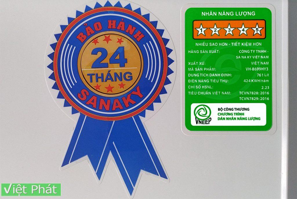 Tem bảo hành tủ đông SanakyInverter 761 lít VH-8699HY3