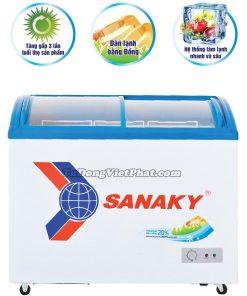 Tủ đông Sanaky VH-2899K, mặt kính cong 210 lít dàn đồng