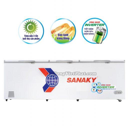 Tủ đông Sanaky VH-1199HY3, INVERTER 900L 3 cánh